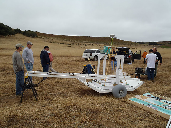 During July 2011, U.S. Army Corps of Engineers employees participate in hands-on MetalMapper training at the former Fort Ord military base in the Monterey Bay area of California. The device provides a new classification technology for sub-surface anomalies on Formerly Used Defense Sites, and is expected to help technicians better distinguish between unexploded ordnance and other metals beneath the soil.  This training focused on how to get the device up and running to acquire data.